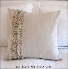 Drop Cloth Ruffle Pillow {Ink Blots & Polka Dots} step by step DIY so cute! Cute Pillows, Diy Pillows, Decorative Pillows, Throw Pillows, Pillow Ideas, Homemade Pillows, Pillow Inspiration, Style Inspiration, Ruffle Curtains