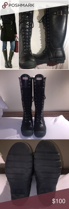 HUNTER Boot (Watling) ✨Authentic✨ 🖤Great Condition, worn only a handful of times. Have original box and shoe bag 🖤 Size: US 7, UK 6, EU39 (runs 1 size big based on majority reviews)  I'm usually a size 8, which is why I got a 7 and it fits with just enough extra room for thick socks.                                                                                                             🖤Color: Black with dark green accents 💢‼️Feel free to ask questions or for additional photos…
