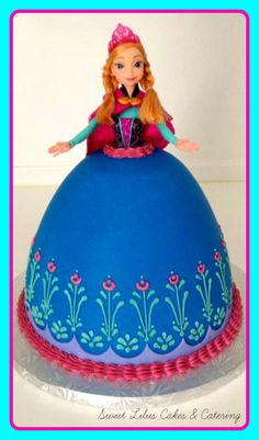 "Anna from ""Frozen"", doll cake...fondant and swiss meringue buttercream accents. Walt Disney, animation, cartoon, musical, winter, Olaf, Elsa https://www.facebook.com/sweetlilus?ref=hl#!/sweetlilus"