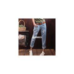 Fashion Women Casual Hole Ripped Boyfriend Jeans Loose Solid Denim... (48 HKD) via Polyvore