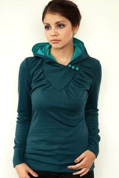 camiseta con capucha - botones azul turquesa - lunares-