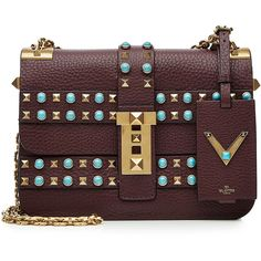 Valentino My Rockstud Rolling Accordion Bag ($3,555) ❤ liked on Polyvore featuring bags, handbags, multicolor, studded purse, studded handbags, multi color handbag, pocket purse and red handbags