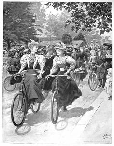 Girls on bicycles, a new kind of freedom, ca 1895 Begg_Battersea_Park_www.sheilahanlon.com_.jpg (901×1155)