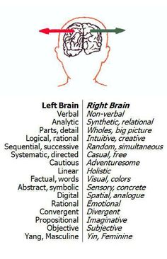 Right brain: Non-verbal, creative, big picture, intuitive, casual (less structured, free (flexible, open), adventuresome, visual, colors, emotional, Imaginative. Left brain - verbal, structured, rational. But please note, Neurologist & Psychiatrist's would argue this is way too much of a generalisation, and simplistic.