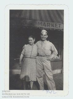 Sidney Hais and his mother Ida in front of the family store at 7th & C Streets, NE, 1942.  With the exception of two years in the Army, Sid worked in Hais Market from the age of 5 or 6 until his father sold the business about 35 years later.