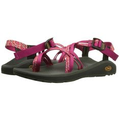 Chaco Z/Cloud X2 (Reef Reds) Women's Sandals ($110) ❤ liked on Polyvore featuring shoes, sandals, chaco sandals, red platform sandals, wrap around sandals, arch support shoes and arch support sandals