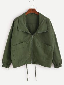 To find out about the Army Green Drop Shoulder Drawstring Hem Coat at SHEIN, part of our latest Jackets ready to shop online today! Billy Madison, Coats For Women, Jackets For Women, Look Fashion, Fashion Outfits, Fall Fashion, Hooded Vest, Green Coat, Green Jacket