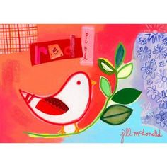 Oopsy Daisy - Red Bird Canvas Wall Art 14x10, Jill McDonald