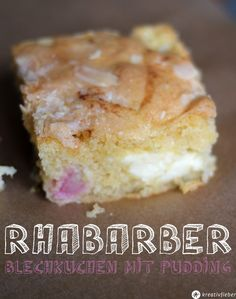 Sonntagskuchen Rhabarber Blechkuchen mit Pudding einfaches Rezept