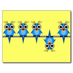 roliga fåglar vykort