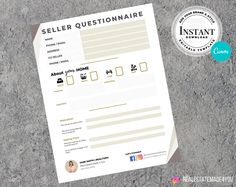 Real Estate Seller Questionnaire, Ready To Print, Real Estate Marketing, Real Estate Templates, Editable in Canva #ReadyToPrint #EditableInCanva #ReadyTemplate #RealEstateFlyer #RealEstateTemplate #RealEstate #RealEstatePrint #Realtor #BuyerTemplate #BuyerQuestionnaire Real Estate Templates, Real Estate Buyers, Questionnaire, Marketing Materials, Real Estate Marketing, Printing Services, Design Elements, My Etsy Shop, Ads