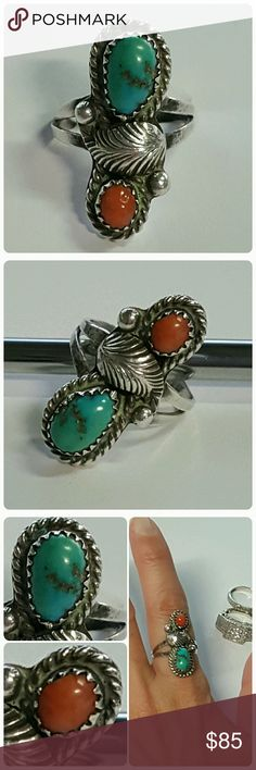 Turquoise coral & sterling Gorgeous ring not marked but sterling Size: 6.5 unfortunately didn't fit me Jewelry Rings