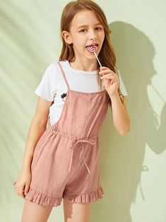 To find out about the Girls Drawstring Waist Ruffle Hem Slip Romper at SHEIN, part of our latest Girls Jumpsuits ready to shop online today! Cute Little Girls Outfits, Dresses Kids Girl, Kids Outfits, Cute Outfits, Girls Fashion Clothes, Tween Fashion, Fashion Outfits, Jumpsuits For Girls, Girls Rompers