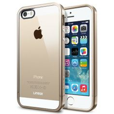 Amazon.com: SPIGEN iPhone 5S Case Bumper [Linear Metal Crystal] [Champagne Gold] Free Screen Protector + Bumper Case with Clear Back Cover f...