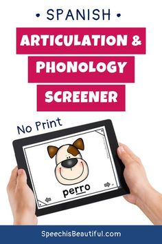 This is an articulation screener and phonology screener in one! I created this resource because I couldn't find a good articulation and phonology screener in Spanish. This is a no print version, and is perfect if you have bilingual speech therapy students on your case load. - Speech is Beautiful