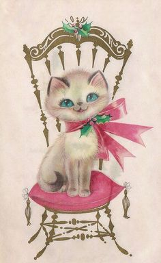 Vintage Christmas Card ~ kitty sittin' pretty!