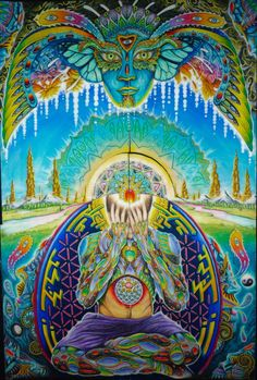 Psychedelic visionary art is any art or visual displays inspired by psychedelic experiences. Visionary art encourages the development of our inner sight. Fantasy Kunst, Fantasy Art, Alex Grey, Psy Art, Visionary Art, Sacred Art, Fractal Art, Sacred Geometry, Cool Art