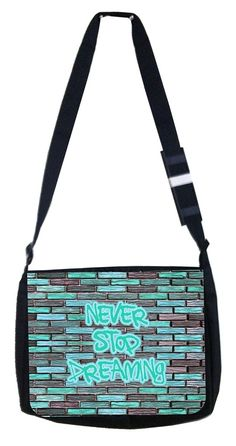 Never stop dreaming brick wall Rosie Parker Inc. TM Medium Sized Messenger Bag 11.75' x 15.5' >>> Read more reviews of the product by visiting the link on the image. (This is an Amazon Affiliate link and I receive a commission for the sales)