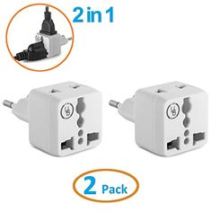 Yubi Power 2 in 1 Universal Travel Adapter with 2 Universal Outlets  Built in Surge Protector  White 2 Pack  Type C for France Germany Hungary Portugal Russia Spain Sweden Egypt Turkeymore *** Check out this great product.