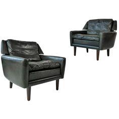Pair of Danish Leather Lounge Chairs | 1stdibs.com