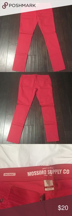 Mossimo red skinny jeans Mossimo supply company red skinny jeans. Size 15. 64% cotton, 33% polyester and 3% spandex Mossimo Supply Co. Jeans Skinny