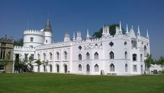 """STRAWBERRY HILL HOUSE - is the Gothic Revival villa that was built in Twickenham, London by Horace Walpole from 1749 onward. It is the type example of the """"Strawberry Hill Gothic"""" style of and it prefigured the nineteenth-century Gothic Revival. Gothic Revival Architecture, British Architecture, Marble Hill House, Strawberry Hill House, Gothic Castle, Castle Rock, Moving House, House Styles, Manor Houses"""