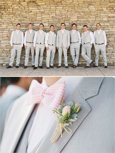 pale grey groomsmen suits with pink gingham bow ties