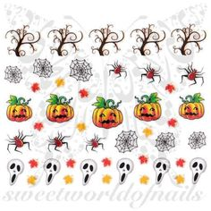 Halloween Nail Art Pumpkins Ghost Spider Web Autumn Leaves Nail Stickers www.sweetworldofn...