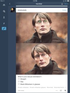 Mads Mikkelsen in glasses. Why did he remind me alot of winter sonata actor?