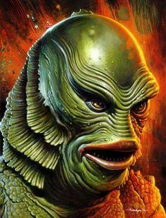 Creature From the Black Lagoon - Universal horror - artwork by Jason Edmiston Horror Monsters, Scary Monsters, Famous Monsters, Monster Art, Monster Squad, Jason Edmiston, The Frankenstein, Classic Horror Movies, Black Lagoon