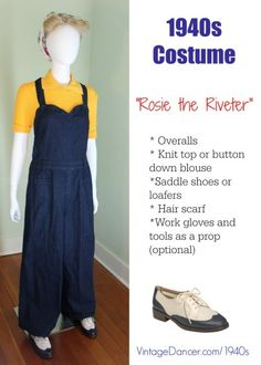 1940s fashion- Rosie the riveter. How I made this look at VintageDancer.com/1940s