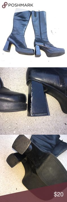 Black leather boots Black leather boots with a 3 inch block heel heels are scuffed up leather upper Shoes Heeled Boots