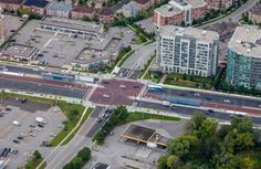 An aerial view of the new dedicated bus lanes on Highway 7 in Richmond Hill. The bus rapidway is currently being constructed in Markham.
