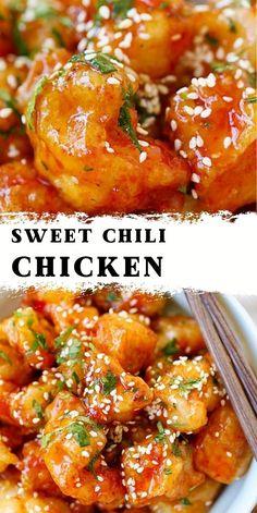 Meat Recipes, Asian Recipes, Chicken Recipes, Dinner Recipes, Cooking Recipes, Healthy Recipes, Recipies, Sweet Chili Chicken, Honey Garlic Chicken