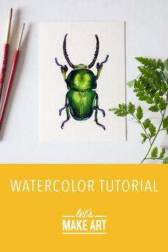 Watercolor Art Diy, Watercolor Projects, Watercolour Tutorials, Watercolor Animals, Watercolor Techniques, Pine Beetle, Red Beetle, Beetle Juice, Pink Volkswagen Beetle