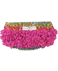 She will feel like a stylish little sweetie in these fancy, silky soft bloomers. Pair with a coordinating top or just a sweet smile, your little princess with be fabulous in her watercolor-inspired ruffles!  RuffleButts Watercolor Ikat Silky RuffleButt | www.RuffleButts.com