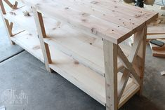DIY rustic X console table. Wood X console table tutorial. Entry way decor and decorating ideas. How to make wood look weathered. How to decorate an entry way. Diy Storage Table, Diy Entryway Table, Entry Tables, Diy Table, Console Tables, Furniture Fix, Diy Furniture Projects, Wood Projects, Woodworking Projects
