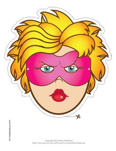 Female Superhero Mask Printable Mask, free to download and print