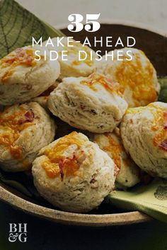The cheesy, peppery biscuits can be made and frozen for up to two months, so go ahead and prepare them now to pop into the oven for a few minutes before your holiday dinner #thanksgiving #sides #thanksgivingsides #makeaheadrecipes #thanksgivingdinner #bhg Thanksgiving Sides, Thanksgiving Recipes, Holiday Recipes, Holiday Ideas, Dinner Recipes, Holiday Side Dishes, Side Dishes Easy, Side Dish Recipes, Make Ahead Meals