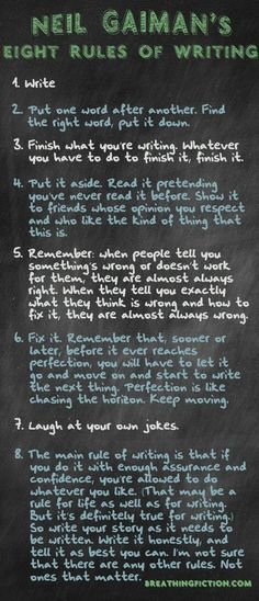 Neil Gaiman's 8 Rules for Writing - great tips from an awesome writer! #tips