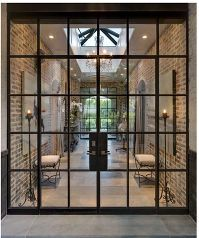 Image result for conservatory with high metal doors and glass