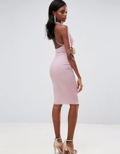 ASOS Mesh Ruched Curved Seam Detail Dress - Purple