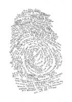 Use an ink pad to make a fingerprint of your thumb. Then enlarge it, and add text about yourself where the lines are. It creates a unique self-portrait.