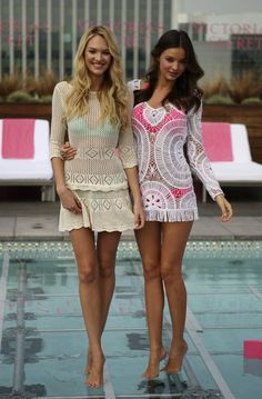 Miranda Kerr and Candice Swanepoel Promote Victoria's Secret #Beach #Sexy #Bikinis