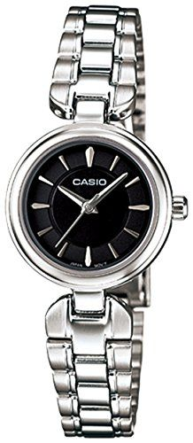 Casio Women's Core LTP1353D-1A Silver Stainless-Steel Quartz Watch with Black Dial ** You can find more details by visiting the image link.