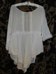 Authentic RitaNoTiara W/ the Magnolia Bow Snow Pearl Vintage Antique lace tunic top Shirt Quirky  Boho Gypsy Lagenlook artisan artsy prairie