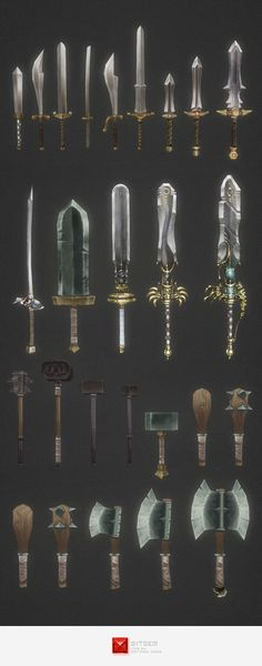 Low Poly Modular Melee Weapon Set ...  3d, Mace, bitgem, club, cudgel, game, hammer, hand painted, low poly, melee, model, sword, weapon