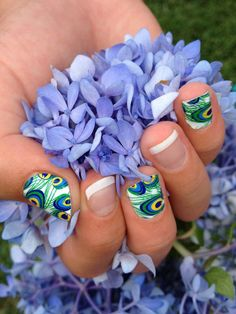 ##nails jamberry fashion design jewelry manicure pedicure nail art nail polish feet hands fingers acrylics peacock flowers purple hydrangea french tip wild wedding