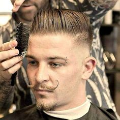 Classic Dapper Haircut - Mid Bald Fade with Comb Over