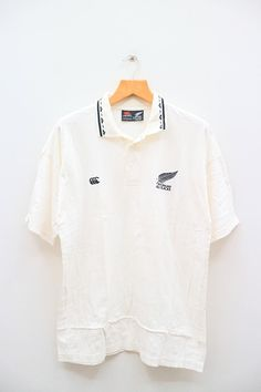 Vintage CANTERBURY Of New Zealand Casual White Polos Shirt Size L